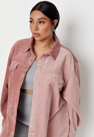 Missguided plus size pink splice cord denim shirt