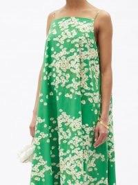 BERNADETTE Audrey Daisyfield-print cotton-blend maxi dress ~ green floral skinny strap occasion dresses