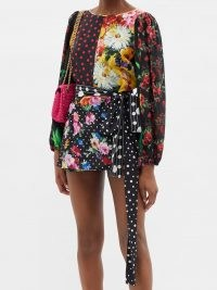DOLCE & GABBANA Belted patchwork silk-blend crepe blouse ~ multi print peasant blouses