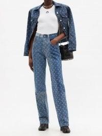 MARINE SERRE Crescent moon-print upcycled straight-leg jeans | printed denim