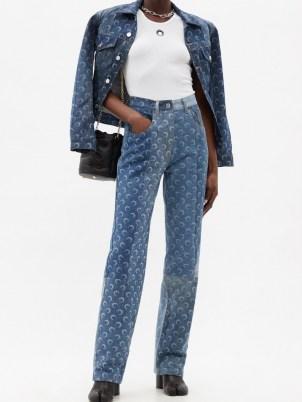 MARINE SERRE Crescent moon-print upcycled straight-leg jeans | printed denim - flipped