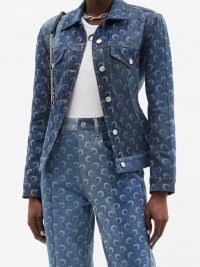 MARINE SERRE Crescent moon-print upcycled-denim jacket | printed jackets
