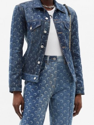 MARINE SERRE Crescent moon-print upcycled-denim jacket | printed jackets - flipped