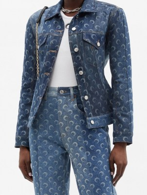 MARINE SERRE Crescent moon-print upcycled-denim jacket | printed jackets