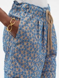 KIKA VARGAS Floral-embroidered cotton-blend voile shorts