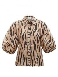 AJE Nouveau zebra-print cotton shirt / balloon sleeve shirts