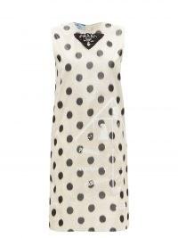 PRADA Polka-dot silk-taffeta shift dress   sleeveless vintage style dresses   retro fashion