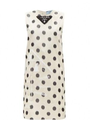 PRADA Polka-dot silk-taffeta shift dress | sleeveless vintage style dresses | retro fashion - flipped