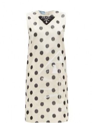 PRADA Polka-dot silk-taffeta shift dress | sleeveless vintage style dresses | retro fashion
