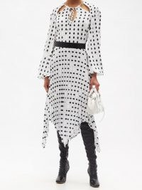 THEBE MAGUGU Tie-neck fingerprint-print crepe midi dress ~ chic handkerchief hem dresses
