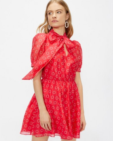 TED BAKER DOTTYY Puff sleeve mini dress / floral fit and flare pussy bow dresses - flipped