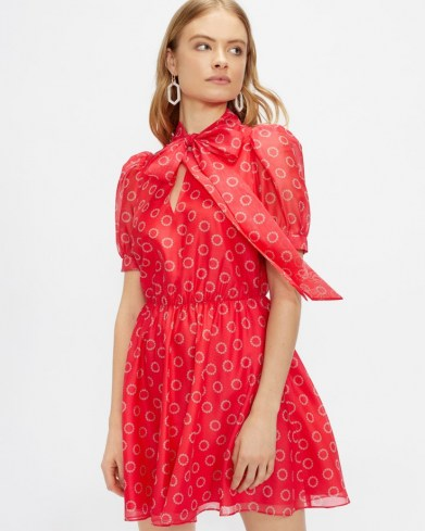 TED BAKER DOTTYY Puff sleeve mini dress / floral fit and flare pussy bow dresses