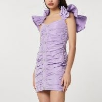 River Island Purple ruffle sleeve ruched mini dress – going out dresses with statement ruffles