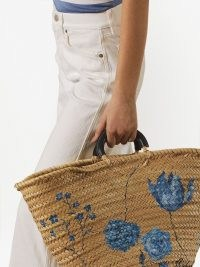 Ralph Lauren Collection floral-print woven-design tote bag. STRAW BAGS