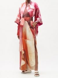 COMMON HOURS Crimson and Claret printed silk reversible robe | kimono style robes