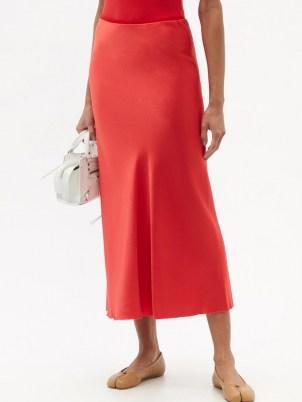 MAISON MARGIELA Four-stitches raw-hem satin midi skirt ~ red fluid fabric skirts - flipped