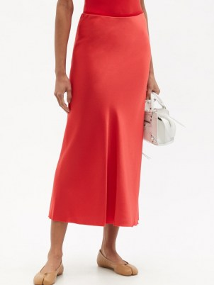 MAISON MARGIELA Four-stitches raw-hem satin midi skirt ~ red fluid fabric skirts