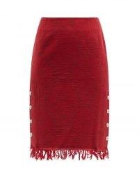 MARINE SERRE Moon Salutation fringed jacquard-twill skirt | red skirts