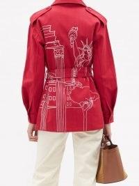 KILOMETRE PARIS Roma Meets New York embroidered cotton jacket – red safari style jackets