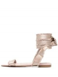 RED(V) City Ballet flat sandals | pink ankle tie flats