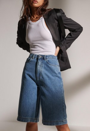 Missguided re_styld blue wide leg denim shorts