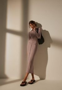 MISSGUIDED re_styld mauve collared ruched midaxi dress ~ sustainable fashion ~ long sleeve gathered-waist column dresses