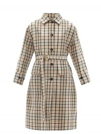 ANOTHER TOMORROW Reversible checked organic-cotton trench coat ~ check print D-ring belted coats for spring