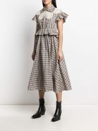Rokh crochet-bib midi dress | checked peplum waist dresses
