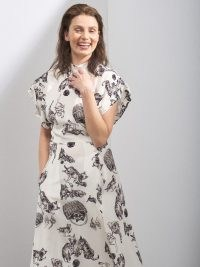 RAEY Roll-sleeve kitten-print silk midi dress / cute animal print dresses / kittens / cats