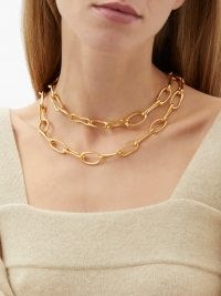 SOPHIE BUHAI Roman double chain-link 18kt gold-vermeil choker – contemporary layered chunky chokers