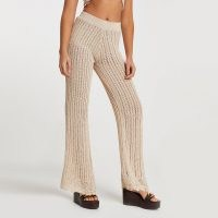 River Island Rose gold crochet knit wide leg trousers | knitted fashion