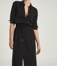 REISS ROSIE MIDI-LENGTH SHIRT DRESS BLACK / chic sportswear inspired clothing