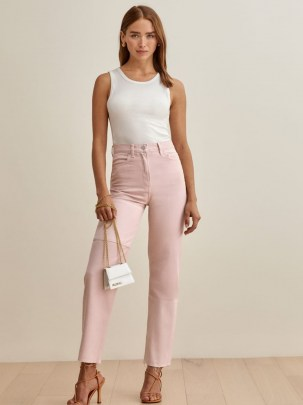 Reformation Ryan Tonal Patch High Rise Straight Jeans in Rose | pink denim - flipped