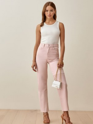 Reformation Ryan Tonal Patch High Rise Straight Jeans in Rose | pink denim