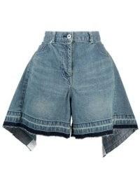Sacai draped high-waisted denim shorts