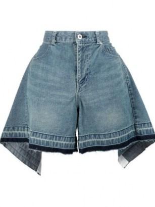 Sacai draped high-waisted denim shorts - flipped