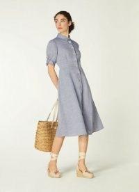 L.K. BENNETT SAFFRON BLUE LINEN SHIRT DRESS ~ short tie-sleeve button through fit and flare dresses
