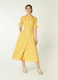 L.K. BENNETT SAFFRON YELLOW GINGHAM COTTON-BLEND SHIRT DRESS / vintage style check print summer dresses