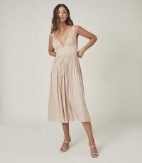 SAFFY PLUNGE NECKLINE MIDI DRESS BLUSH ~ pale pink summer event dresses