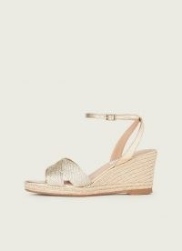 L.K. Bennett SANTANA SOFT GOLD ROPE LUREX SANDALS | metallic wedges