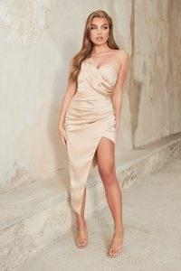 lavish alice satin pleated wrap maxi dress in champagne – vintage style glamour – glamorous evening dresses