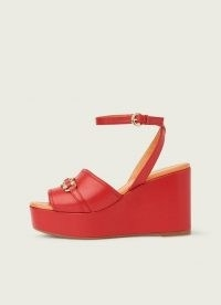 L.K. BENNETT SELENE RED LEATHER SNAFFLE-DETAIL PLATFORM WEDGES / bright retro platforms / vintage style summer sandals