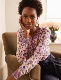 BODEN Silk Collarless Blouse Milkshake, Trailing Posy / pink floral blouses