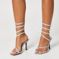 River Island Silver colour diamante ankle wrap heels – glittering going out barely there sandals
