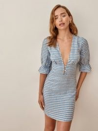 REFORMATION Simi Linen Dress in Azure Check