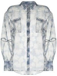 SIR. Anais blue silk floral-print sheer shirt / feminine style shirts