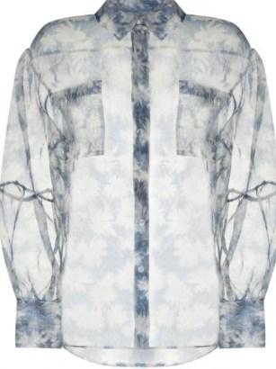 SIR. Anais blue silk floral-print sheer shirt / feminine style shirts - flipped