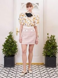 SISTER JANE FIFTY-THREE ROSE LANE Admirer Tweed Mini Skirt Ivory and Blush Pink