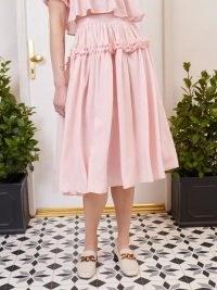 SISTER JANE FIFTY-THREE ROSE LANE Simply Ruffled Midi Skirt Cotton Candy ~ pink ruffle trim skirts