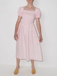Sleeper Belle pink and white gingham-check midi dress | classic puff sleeve summer dresses